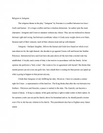 religion in antigone essay similar essays