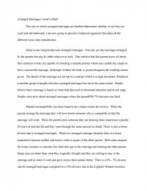 Arranged Marriages Good Or Bad Essay