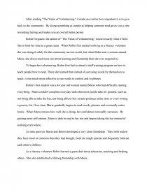 Value of volunteering essay