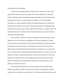 the importance of party discipline essay zoom