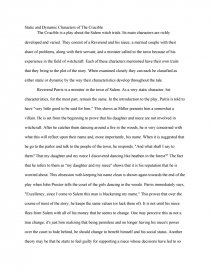 Static and Dynamic Characters of the Crucible - Essay