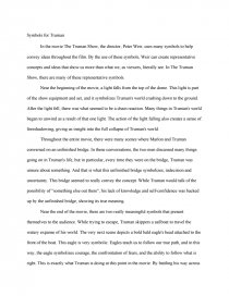Symbols In The Truman Show  Essay Essay Preview Symbols In The Truman Show