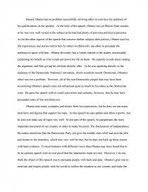 Rhetorical Analysis of Barack Obama's 2004 Dnc Keynote