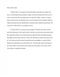 water jar boy myth essay similar essays