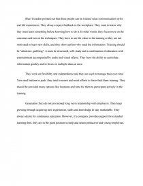 critique on can generation xers be trained essay similar essays