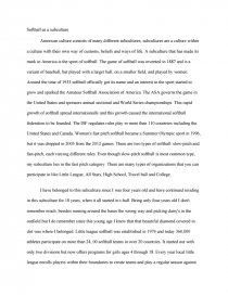 softball as a subculture essay zoom