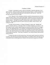 is freedom more important than security essay