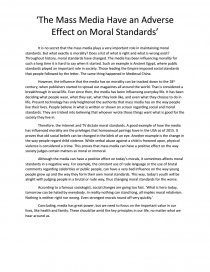 the mass media have an adverse effect on moral standards essay similar essays